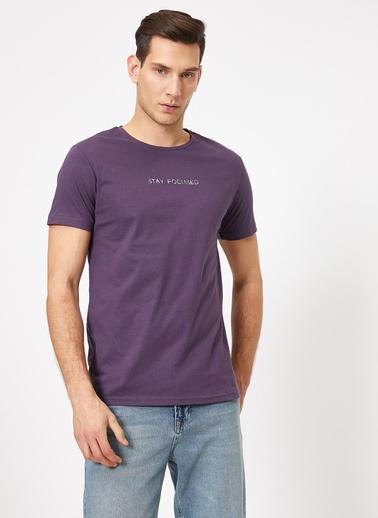 Koton Yazili Baskili T-Shirt Mor